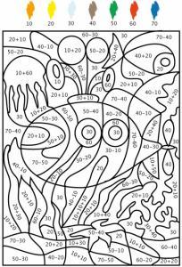 Jeu de coloriage numéroté : chiffres et mer n°5