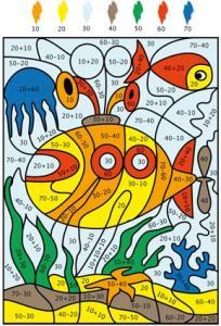 Solution du Jeu de coloriage numéroté : chiffres et mer n°5