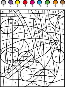 Jeu de coloriage numéroté : chiffres et mer n°7
