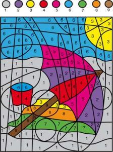 Solution du Jeu de coloriage numéroté : chiffres et mer n°7