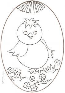 coloriage d'un oeuf de Pâques : medaillon gros poussin