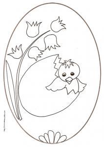 coloriage d'un oeuf de Pâques médaillon : poussin sortant de l'oeuf