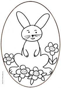coloriage d'un oeuf de Pâques du lapin assis