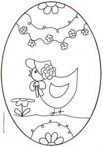 coloriage d'un oeuf de Pâques de la petite poule au chapeau