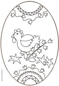 coloriage d'un oeuf de Pâques de la petite poule aux clochettes