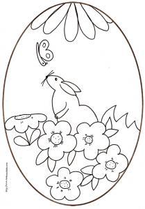 coloriage d'un oeuf de Pâques du lapin dans les fleurs