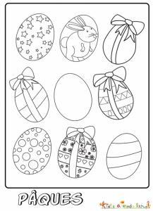 Coloriage de 9 oeufs de Pâques