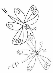 Coloriage de 2 papillons volants