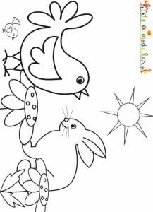 Coloriage d'un poussin et d'un lapin à Pâques