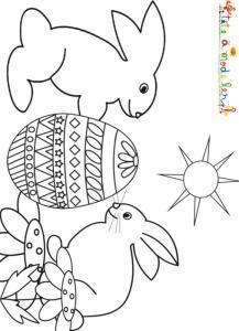 Coloriage Pâques : 2 lapins et leur oeuf