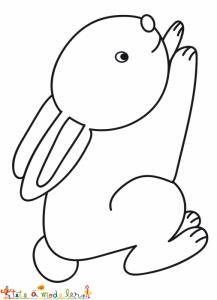Coloriage du petit lapin qui se met à courir