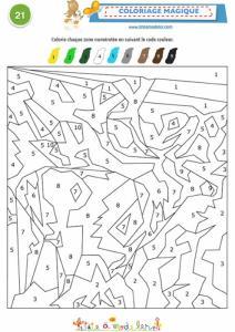 Coloriage magique 21 codé de 1 à 9