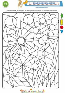 Coloriage magique 22 à 4 formes géométriques
