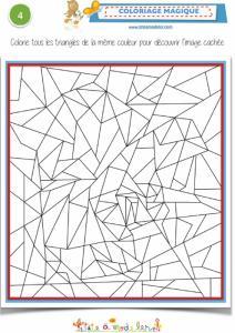 Coloriage magique avec des triangles