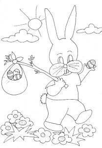 Coloriage du lapin au baluchon