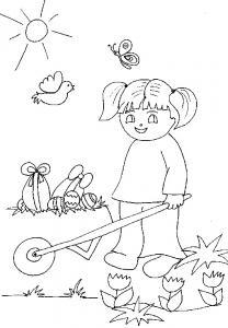 Coloriage d'une fille ramassant les oeufs