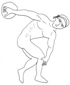 Coloriage Rome antique : romain lanceur de disque