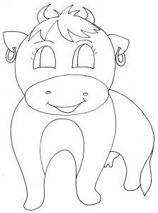 coloriage de la vache aux boucles d'oreilles