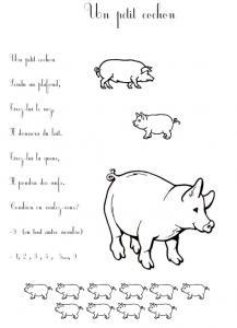 Imprimer le texte de la comptine un petit cochon