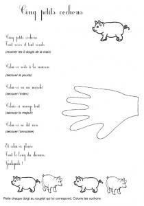 Imprimer le texte de la comptine cinq petits cochons
