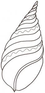 Coloriage d'un coquillage pointu et torsadé pour les enfants, à télécharger gratuitement et à imprimer. Un coloriage sur le thème de la mer pour occuper les enfants. Ce coloriage pourra être utilisé pour illustrer des dessins ou à coller dans un cahier de