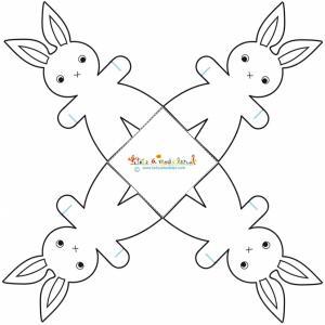 Corbeille quatre lapins à imprimer