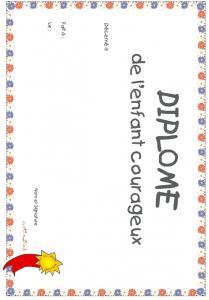 diplôme de l'enfant courageux fleurs