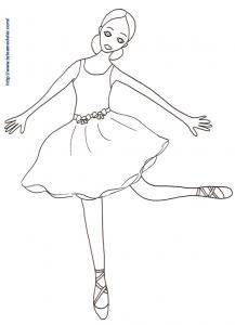 Coloriage danseuse tournant sur une pointe