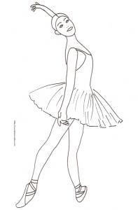 Coloriage d'une danseuse en tutu dessin 6