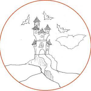 Modèle vitrail halloween : château hanté