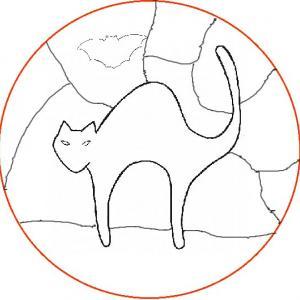 Imprimer le coloriage vitrail d'Halloween modèle de chat