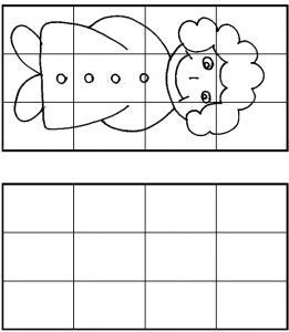 Jeu dessin à cases : imprime ce jeu et reproduit le dessin en utilisant les cases