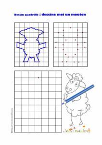 Jeu de dessin quadrillé à imprimer . Un jeu pour dessiner un mouton tout en s'exerçant au repérage sur quadrillage en réalisant la reproduction d'un dessin  sur une grille. Jeu gratuit . Activité ludique de soutien scolaire .