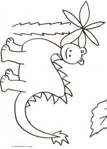 Coloriage du petit dinosaure au palmier
