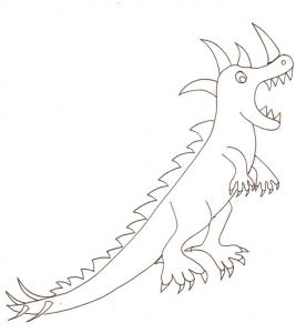 coloriage d'un dinosaure à cornes