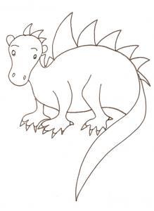 coloriage d'un petit dinosaure hérissé de piquants