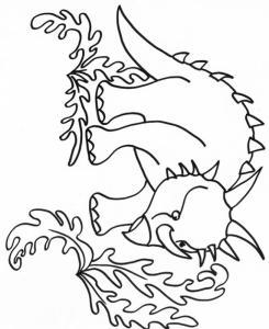 coloriage d'un dinosaure dans les fougères géantes