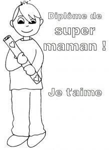 Coloriage du diplôme de supermaman, garçon 3