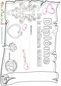 Coloriage du diplôme Meilleure Maman
