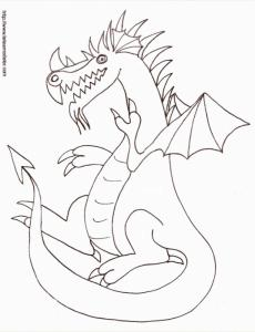 Imprimer le coloriage de dragon assis 10