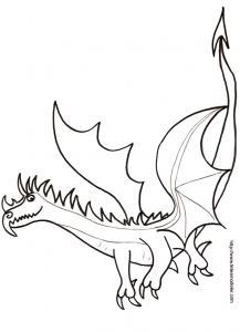 Coloriage d'un dragon en vol