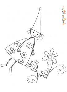 Coloriage de la petite fée ficelle. Coloriage d'une petite fée aux cheveux de ficelle ! Un coloriage gratuit à imprimer