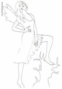 Dessin pour le coloriage d'une fée très fière d'elle-même. Cette fée pose l'ai triomphant un pied sur le tronc d'arbre. Les fées peuvent elles aussi avoir des défauts !
