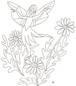 Dessin d'une fée jouant sur un massif de fleurs : la fée joue au dessus d'un massif de marguerites . Imprimer le dessin de la fée aux marguerites à colorier