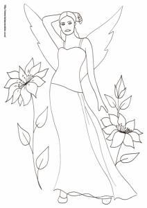 Dessin d'une fée portant une robe bustier debout au milieu des grosses fleurs ? un coloriage pour jouer avec le monde magique Coloriage de la fée dans les grosses fleurs, un dessin de fée dansles fleurs à imprimer pour le
