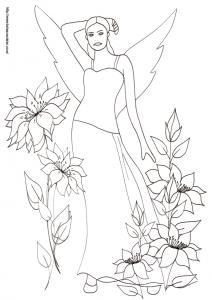 Dessin d'une fée très sereine au milieu des fleurs. Coloriage d'une femme fée à imprimer et à colorier avec des crayons de couleur. Coloriage de la fée dans les grosses fleurs dessin N°28, un dessin de fée à i