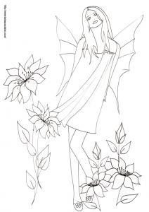 Coloriage sur les fées : dessin d'une jeune femme portant des ailes dans le dos et se balançant dans les fleurs, cette jeune femme serait-elle une fée ?