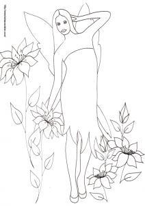 Un autre dessin de fée à colorier, sur ce dessin la fée s'étire dans les fleurs après son réveil ? un coloriage de fée à imprimer et à colorier pour les enfants