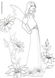 Coloriage de la reine des fées à longue robe attachée à la taille par une large ceinture. La reine des fées contemple les prés et les prairies après son bain du matin. Coloriage de la reine des fées dans les fleurs, un dessin de f&ea