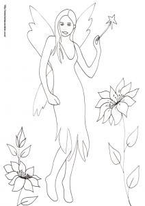 Un nouveau coloriage de fée à imprimer ? sur ce dessin la fée porte une robe à pointes et elle tient sa baguette du bout des doigts